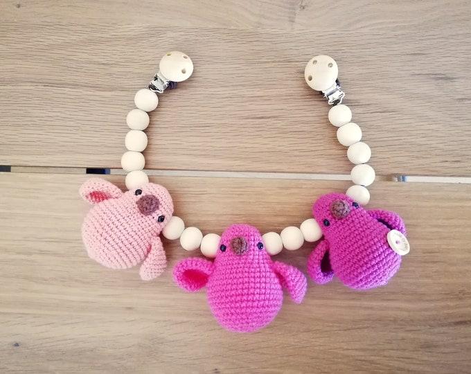 crochet stroller mobile toy - amigurumi birds - pram chain - garland - wooden beads - pram decoration - clip - holder - kinderwagenkette