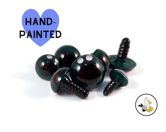 DARKGREEN Hand Painted Safety Eyes • Safety eyes • Amigurumi Eyes • Toy Eyes • Plastic Eyes • Doll Eyes • Crochet Knit Sew •