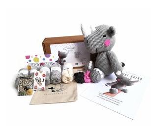 AMIGURUMI CROCHET KIT • Otto the rhino • crochet kit • amigurumi pattern • subcription box • amigurumi crochet box • material kit • diy