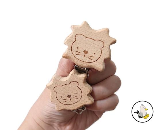 Lion Natural wooden pacifier clips • Beech Wood • Toy Clip • Dummy Clip • Pacifier • Newborn infant • Stroller chain • Kinderwagenkette