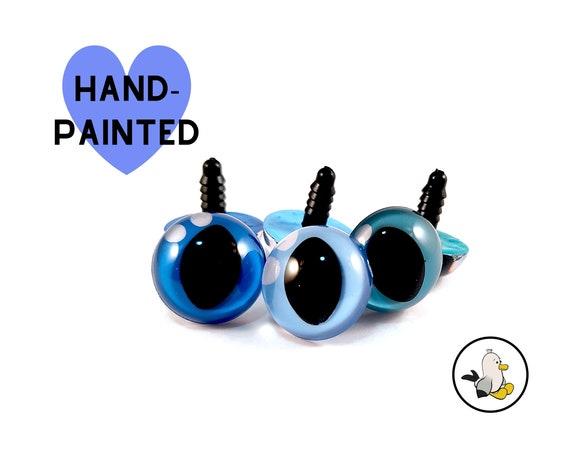 BLUE Hand Painted Cat Eyes 12 mm 15 mm 18 mm • Safety eyes • Amigurumi Eyes • Toy Eyes • Plastic Eyes • Doll Eyes • Crochet Knit Sew •