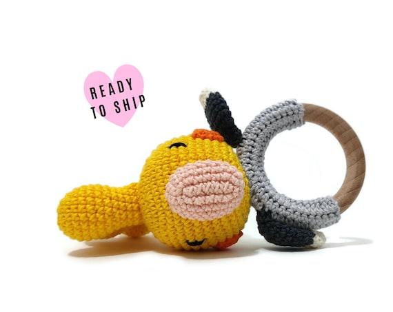 Handmade Crochet Cockatiel Rattle • wooden ring • stuffed • boho wooden teething toy • Cockatiel Teether • READY TO SHIP