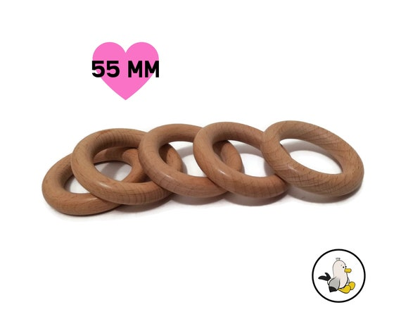 Premium Beech Wooden Rings • 55 mm • Smooth Natural Teether Rings • Organic toymaking • Teething Ring • DIY •  Amigurumi Crochet Teether