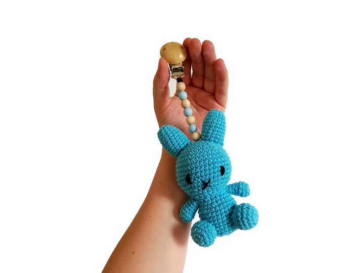 READY TO SHIP - crochet stroller toy - pram mobile - garland - baby toy - toddler - bunny - wooden beads
