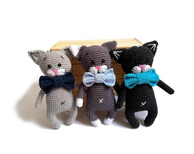 Handmade Crochet Cat - amigurumi cat - crochet kitten - kitty toy - cat lover - plushie cat - stuffed cat - READY TO SHIP
