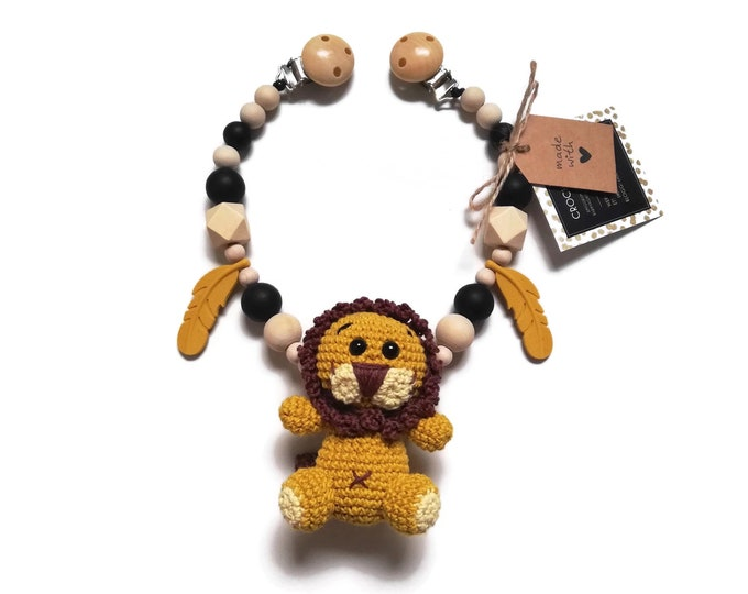 STROLLER CHAIN • amigurumi lion • safari animals • mustard yellow • crochet pram garland • kinderwagenkette • wagenspanner • Ready To Ship