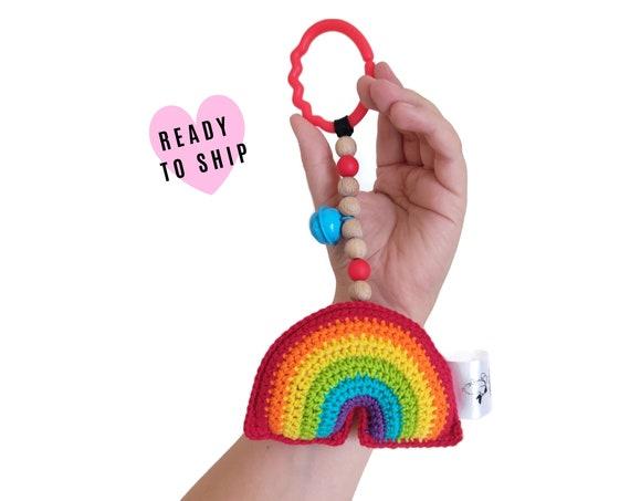 STROLLER TOY • Red Rainbow • amigurumi • crochet pram garland • kinderwagenkette • wagenspanner • Vagnhänge • Hanging toy • Ready To Ship