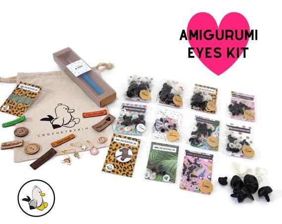 Amigurumi Safety eyes Kit - amigurumi eyes -  - Safety Eyes with Plastic Backs for Teddy Bear - Amigurumi Supplies - Dog noses - Large kit