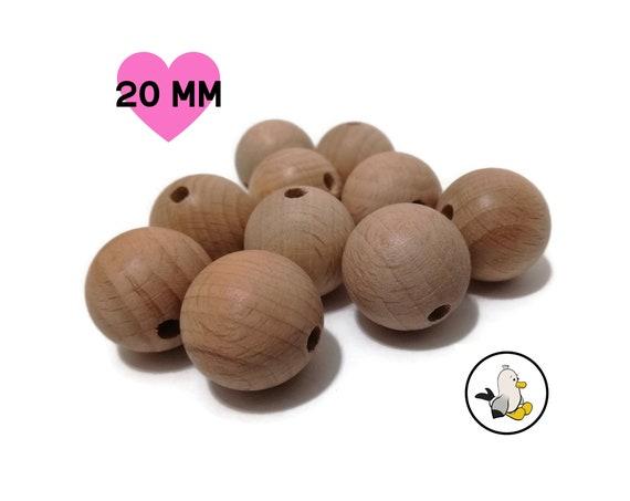 Premium Beech Wooden Round Beads • 20 mm • Smooth Natural Beads • Organic toymaking • Stroller Chain DIY •  Amigurumi Crochet