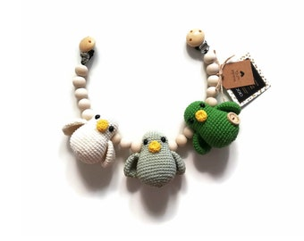 READY TO SHIP - crochet stroller chain - pram mobile - garland - baby toy - baby shower - birds - wooden beads