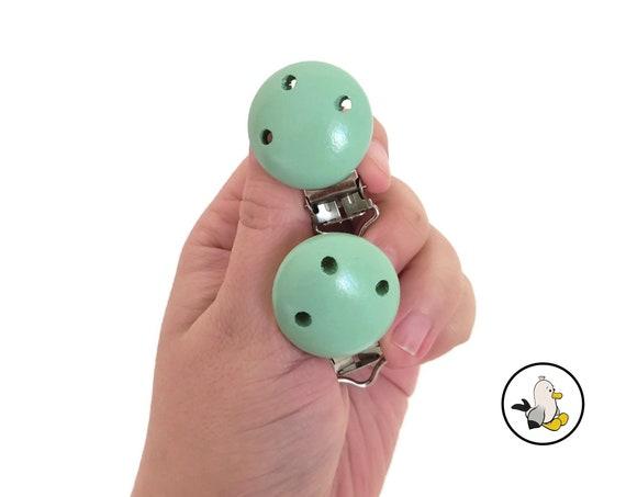 Green wooden pacifier clips • Beech Wood • Toy Clip • Dummy Clip • Pacifier • Newborn infant • Stroller chain • Kinderwagenkette