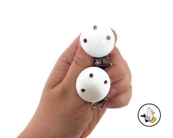 White wooden pacifier clips • Beech Wood • Toy Clip • Dummy Clip • Pacifier • Newborn infant • Stroller chain • Kinderwagenkette