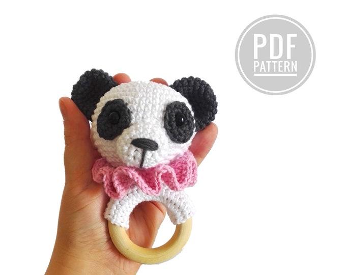 Crochet pattern - Panda teether - rattle - amigurumi - baby toy