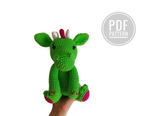AMIGURUMI DRAGON - crochet pattern - Lizzie the dragon - dinosaur - fantasy - stuffed dragon - dragon plush - dragon toy - amigurumi animal