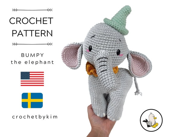 AMIGURUMI CROCHET PATTERN • Bumpy the elephant • Safari Zoo Animal • Africa Animal • Handmade Elephant • CrochetByKim • pdf pattern