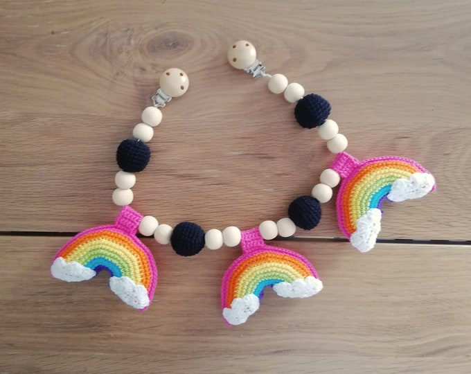 READY TO SHIP - crochet stroller chain - pram mobile - garland - baby toy - toddler - rainbow - wooden beads