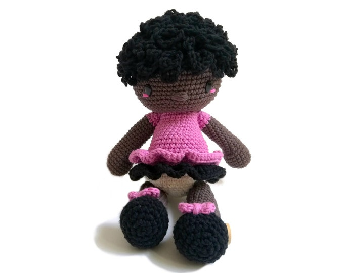 Handmade crochet afro american doll • amigurumi doll • handmade doll • gift for girl • interior doll • dress and shoes • stuffed doll