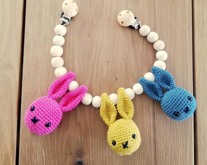 Handmade crochet stroller chain with bunnies - amigurumi - pram mobile - garland - baby toy - baby shower - wooden beads - READY TO SHIP