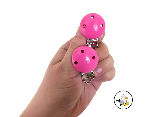 Pink wooden pacifier clips • Beech Wood • Toy Clip • Dummy Clip • Pacifier • Newborn infant • Stroller chain • Kinderwagenkette