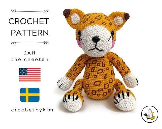 AMIGURUMI CROCHET PATTERN • Jan the cheetah • Safari Zoo Animal • Africa Animal • Handmade leopard • CrochetByKim • pdf pattern