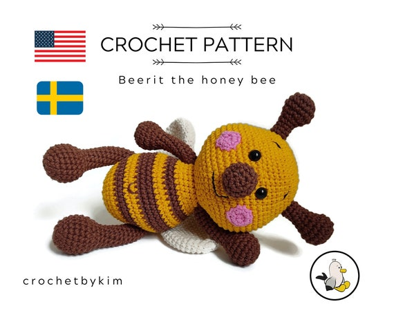 AMIGURUMI CROCHET PATTERN • Beerit the honey bee • Crochet insect • Stuffed Bumble Bee • Honey Bee pattern • Handmade Bug • CrochetByKim