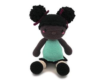 Handmade crochet afro american doll • amigurumi doll • handmade doll • gift for girl • interior doll • dress and shoes • stuffed doll