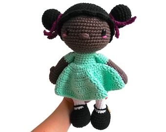 Handmade crochet afro american doll EVY • amigurumi doll • handmade doll • gift for girl • interior doll • dress and shoes • stuffed doll