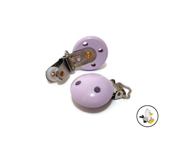 Light purple wooden pacifier clips • Beech Wood • Toy Clip • Dummy Clip • Pacifier • Newborn infant • Stroller chain • Kinderwagenkette