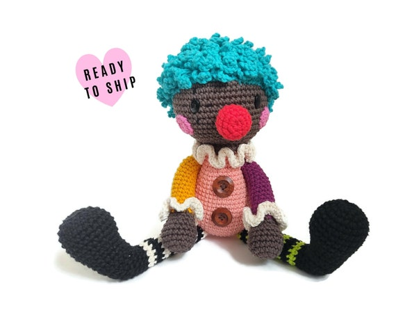 Handmade crochet clown doll • amigurumi clown • handmade doll • halloween • interior doll • Clown Toy • stuffed doll