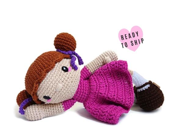 Handmade crochet doll Brown Purple EVY • amigurumi doll • handmade doll • gift for girl • interior doll • dress and shoes • stuffed doll