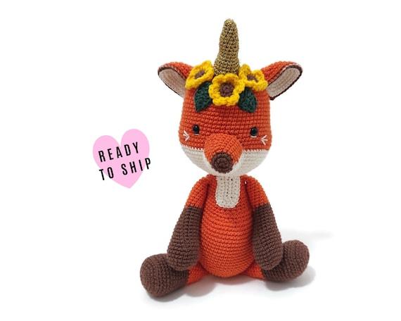 Handmade crochet foxicorn - amigurumi fox - crochet toy - Stuffed fox - plush animal - Woodland animals - forest fox READY TO SHIP