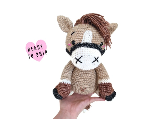 HANDMADE CROCHET HORSE • Stuffed pony • amigurumi horse • Farm animal • woodland • soft toy • swedish design • Ready To Ship