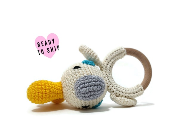 Handmade Crochet Cocktoo Rattle • wooden ring • stuffed • boho wooden teething toy • Cocktoo Teether • READY TO SHIP