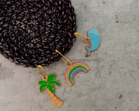 3 Enamel Stitch Markers • notions • row markers • end markers • place markers for crochet • Rainbow Palm Whale • Safety Pins with Charm