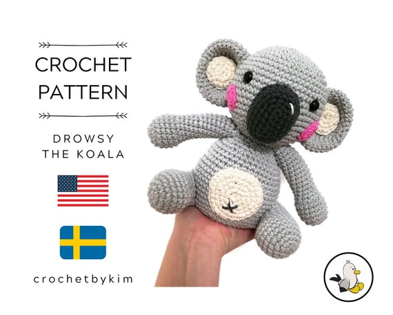 AMIGURUMI CROCHET PATTERN • Drowsy the Koala • amigurumi koala • Aussie animal • koala bear • Stuffed animal • Digital Pattern Pdf