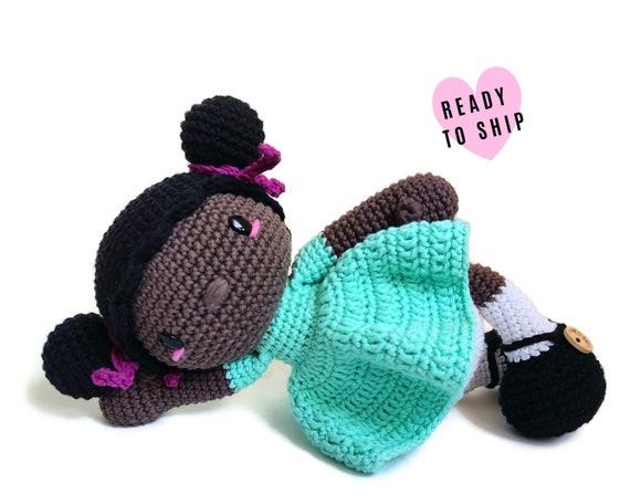 Handmade crochet afro american doll EVY • amigurumi doll • Brown skin doll • Black skin doll • Black rag doll • stuffed doll