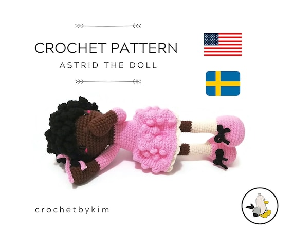 AMIGURUMI DOLL PATTERN • Astrid the doll • crochet pattern • Instant Download • interior doll pattern • crochetbykim