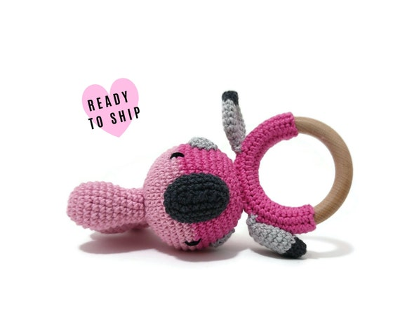 Handmade Crochet Galah Rattle • wooden ring • stuffed • boho wooden teething toy • Galah Teether • READY TO SHIP