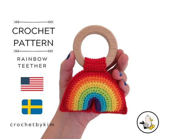 AMIGURUMI CROCHET PATTERN • Rainbow teether • Rainbow rattle • Amigurumi Rainbow • Regenboog • Bitring Regnbåge • CrochetByKim