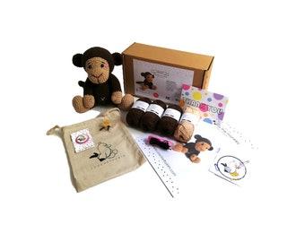 AMIGURUMI YARN KIT - Brownie the monkey - crochet kit - amigurumi pattern . subcription box - amigurumi crochet box - material kit - diy