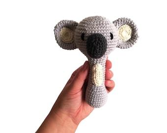 Handmade crochet koala rattle handle • amigurumi koala toy • teethering • baby teething ring • natural baby toy • rassel • READY TO SHIP
