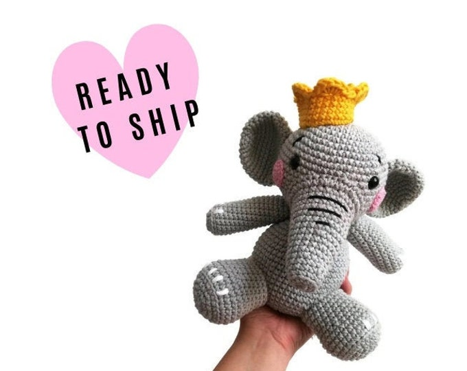 Handmade Crochet amigurumi elephant • SNORKY the elephant • zoomigurumi • safari toy • cotton animal • swedish design • crochetbykim