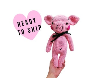 crochet pig - piglet - amigurumi piggy - stuffed pig - handmade gift - kidsroom - birthday - Ready to ship