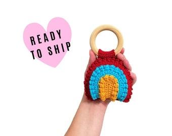 Handmade Crochet rainbow teether • wooden ring • stuffed • boho wooden teething toy • Rainbow Rattle • READY TO SHIP