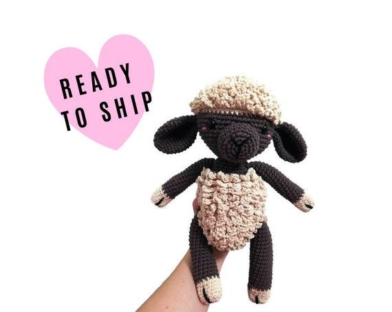 Handmade Crochet Amigurumi Sheep • Fluffy the lamb • stuffed animal • Plushie • Farm animal • Brown sheep • CrochetByKim • READY TO SHIP