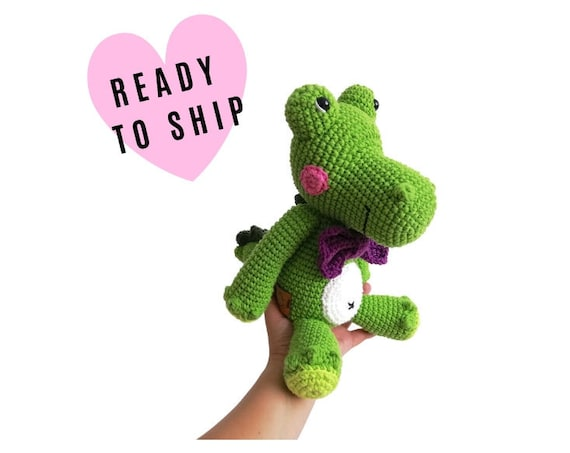 Handmade Crochet Crocodile - Splash the crocodile - Amigurumi Alligator - Green stuffed animal - reptile - crochetbykim - READY TO SHIP