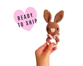 Crochet bunny teether - amigurumi bunny - rattle - teethering - handmade - baby teething ring - natural baby toy - animal rattle