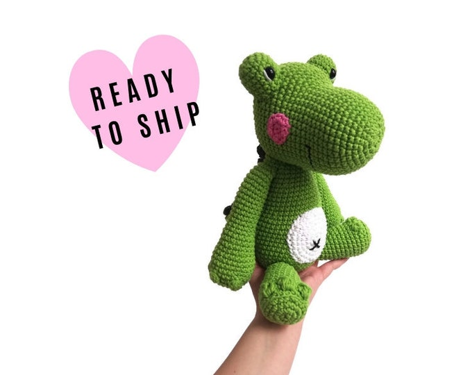 Handmade Crochet Crocodile • Large Amigurumi • Amigurumi Alligator • Green stuffed animal • plush reptile • CrochetByKim • READY TO SHIP