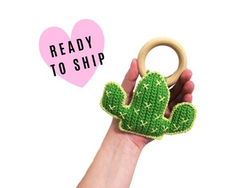 Handmade Crochet cactus rattle • wooden ring • stuffed • boho wooden teething toy • cactus teether • READY TO SHIP
