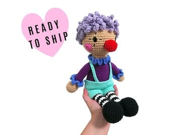 Handmade crochet Clown doll • amigurumi clown • handmade doll • interior doll • red nose • stuffed doll • CrochetByKim